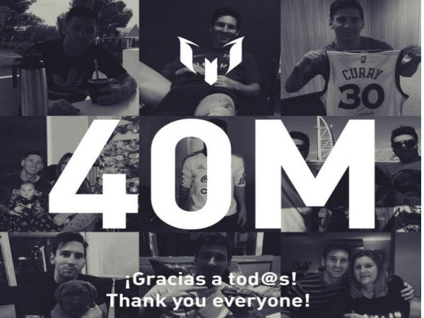 Messi draws 40 million followers on Instagram