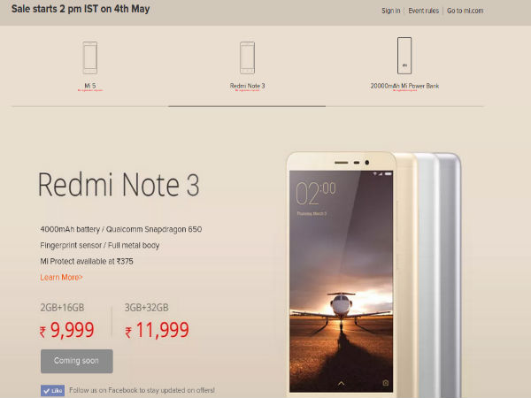 Xiaomi Mi 5, Redmi Note 3 and 20000mAh Power Bank Coming in May