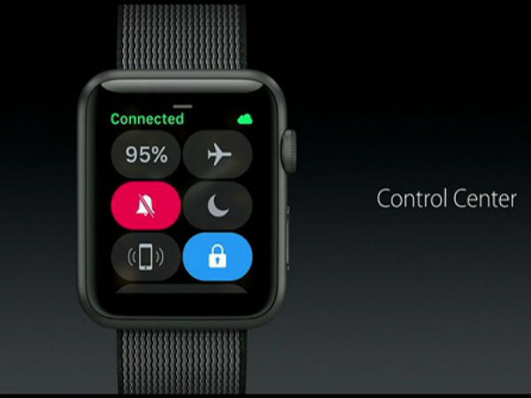 Control center in WatchOS