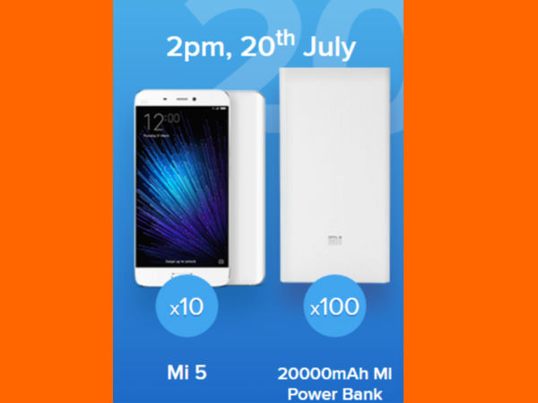 Re. 1 Flash Sale on Mi 5 and 100 20000mAh Mi Power Banks