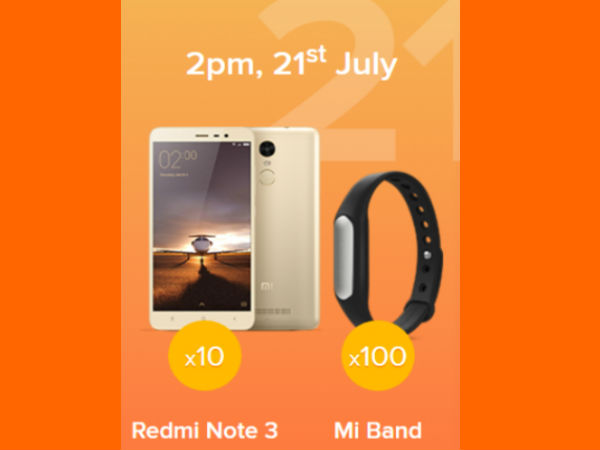 Re. 1 Flash Sale on 10 Redmi Note 3 and 100 Mi Band 1A