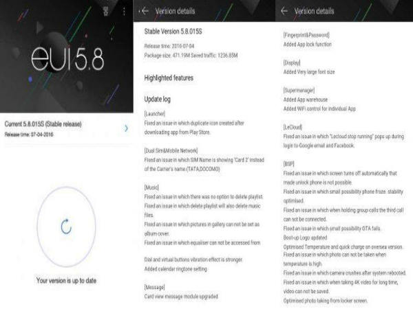 LeEco EUI 5.8 Update Brings These 7 New Features and Fixes