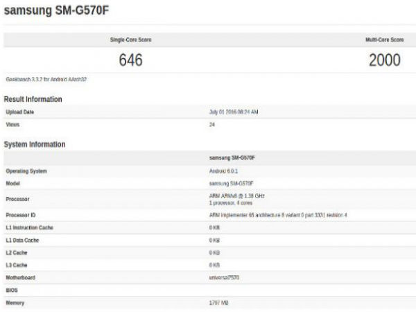 Samsung Galaxy On5 (2016) spotted on GeekBench: Rumor Round up