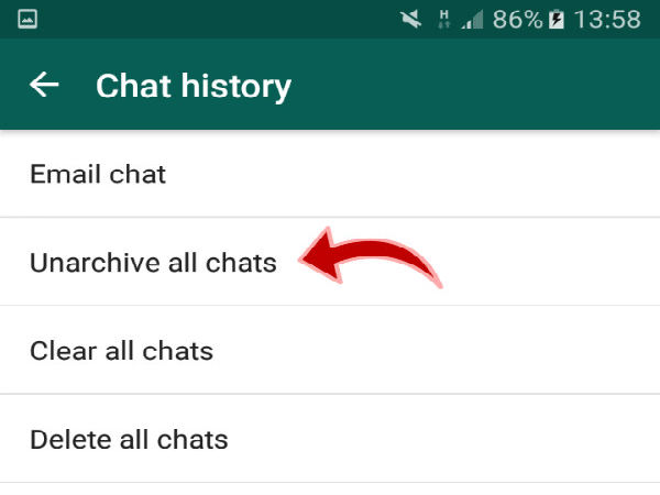 Step 5: Unarchive all the chats