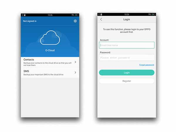 O-Cloud to back up your SMS and Contacts
