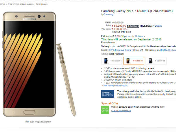 Samsung Galaxy Note 7 Booking At Amazon