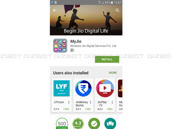 Make sure you have installed all Jio apps