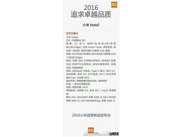 Xiaomi Mi Note 2: Things to Expect