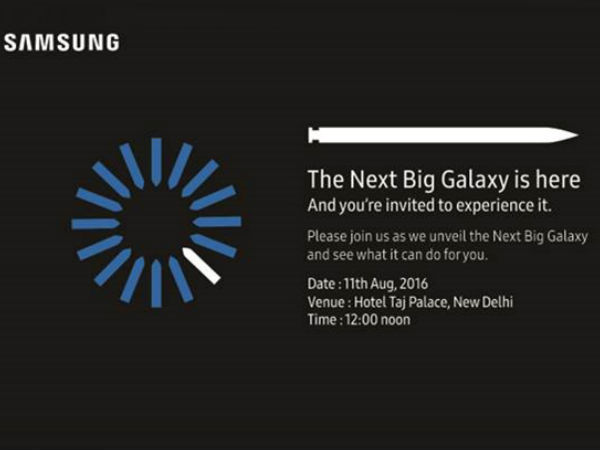 Samsung Galaxy Note7 India launch invite out, coming on August 11