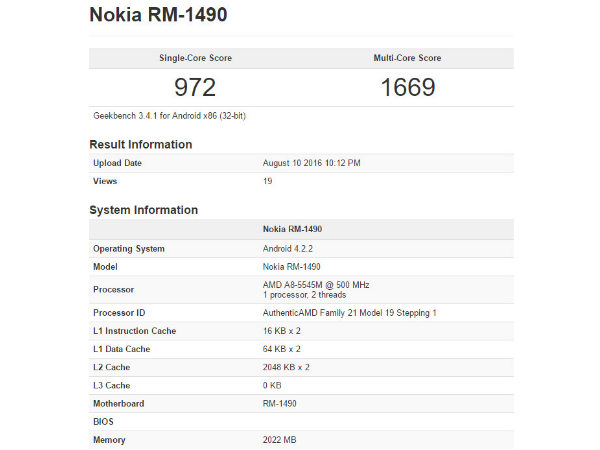 A Nokia RM-1490 With Android 4.2.2