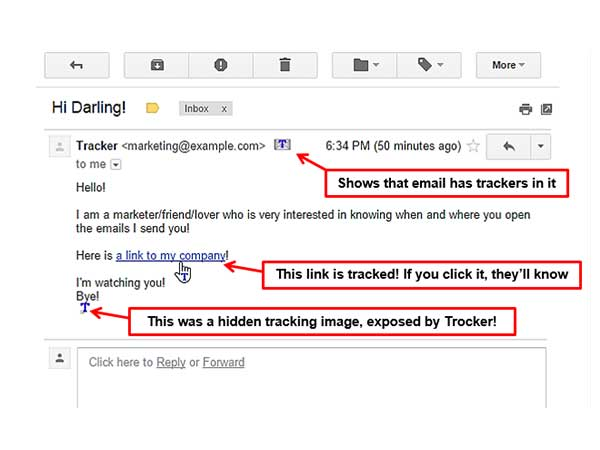 Notifies if the email contains any Tracker