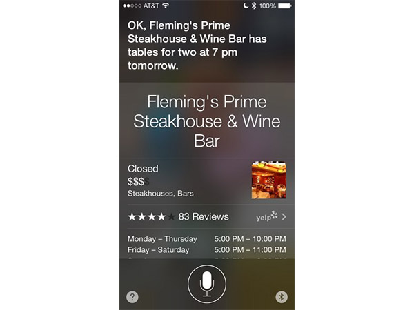 Make Dinner Reservation with Siri