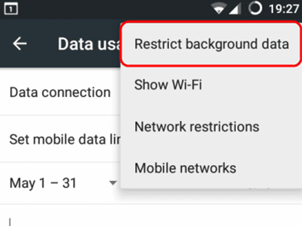 Turn off Restrict Background Data