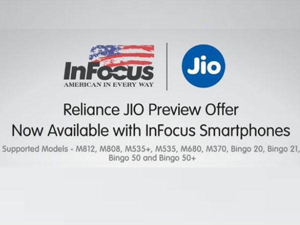 Jio Preview Offer Available on InFocus 4G Smartphones