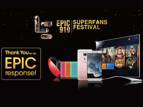 LeEco Crosses Rs. 100 Crore Mark in their EPIC 919 Festival