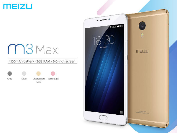 Meizu M3 Max with 6 Inch Display, 3 GB RAM and 4,000 mAh Battery