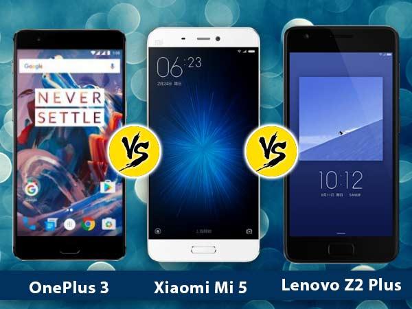 Lenovo Z2 Plus vs Xiaomi Mi 5 vs OnePlus 3