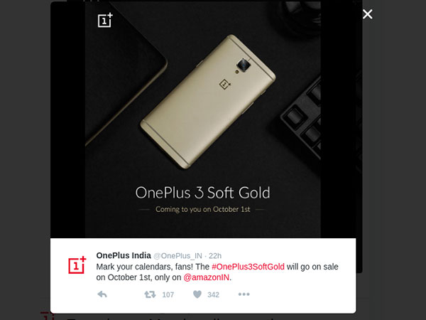 5 Things to Know About OnePlus 3 Soft Gold Variant Coming to India on October 1