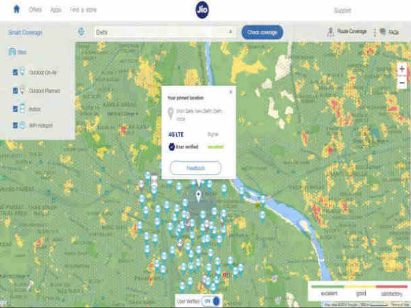 How to check Reliance Jio 4G tower signal coverage in your area