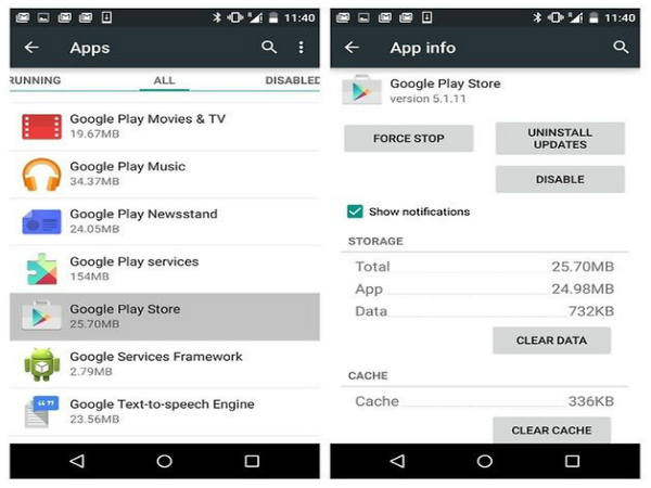 Wipe the Google Play Cache