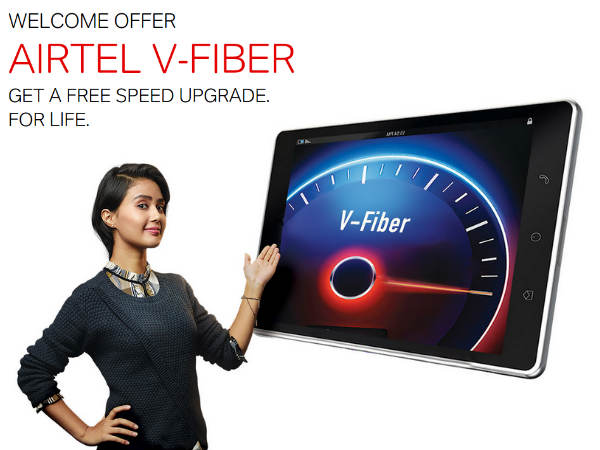 Airtel's V-Fiber Broadband for 100Mbps Speed