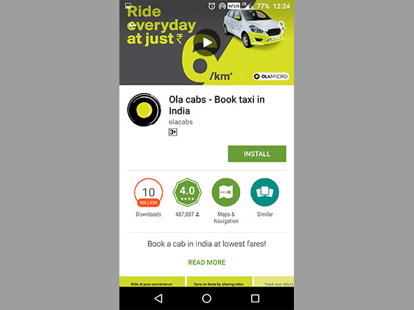 Google will prompt you to install the cab-hailing app