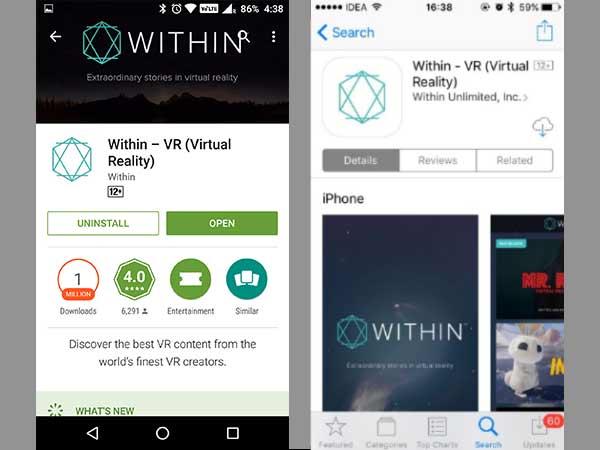 Immerse yourself in VR with Within VR (VRSE previously)