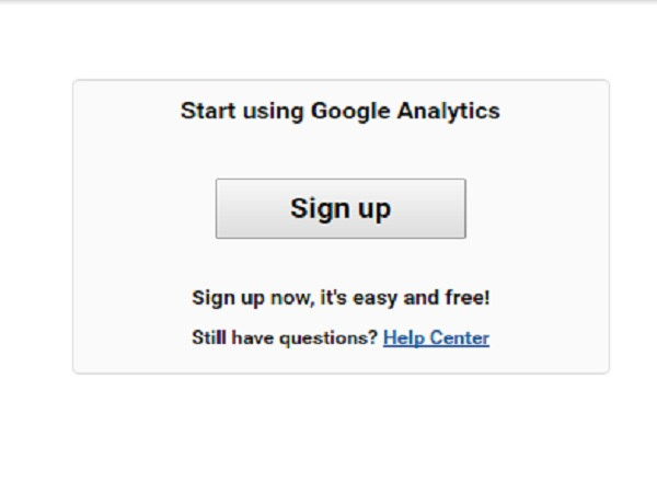Register on Google Analytics