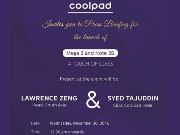 Coolpad Mega 3 and Note 3S to be Unveiled in India on November 30