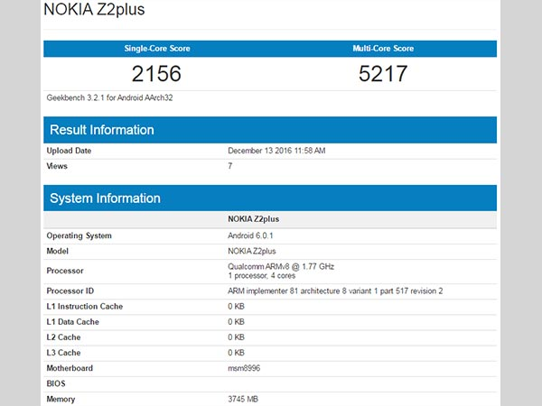 Nokia Z2 Plus Flagship Smartphone with 4GB of RAM Spotted on Geekbench