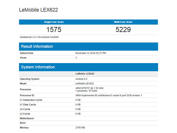 LeEco LEX622 With Helio X20 SoC, 3GB of RAM Pays a Visit to Geekbench
