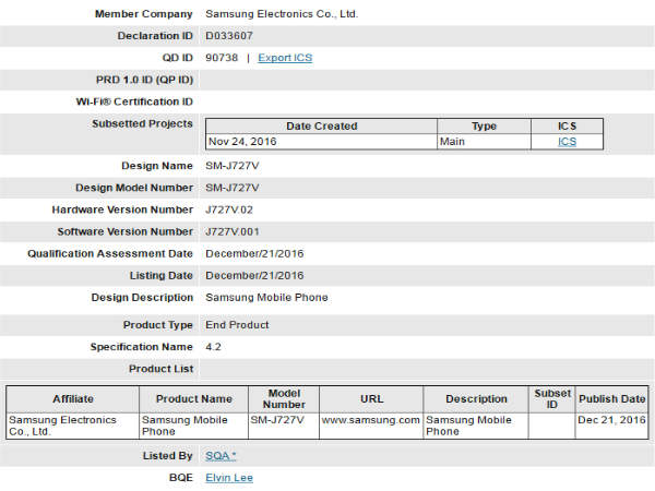 Leak Alert: Samsung Galaxy J7 (2017) Clears Bluetooth Certification