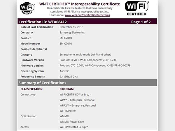 Samsung Galaxy C7 Pro Clears Wi-Fi Certification, Launch Imminent