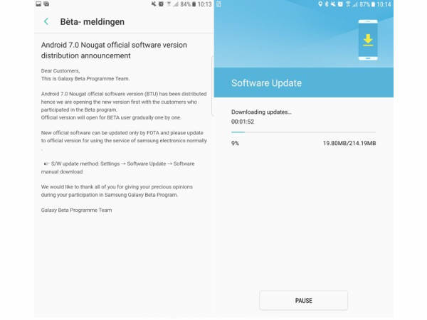 Android 7 0 Nougat update now hitting Samsung Galaxy S7 and