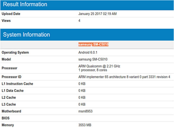 Samsung's C-series Galaxy C5 Pro smartphone spotted on Geekbench