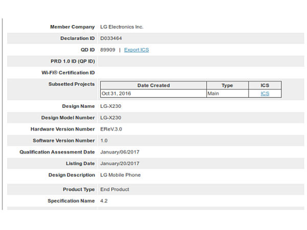 Entry-level LG X230 receives Bluetooth certification