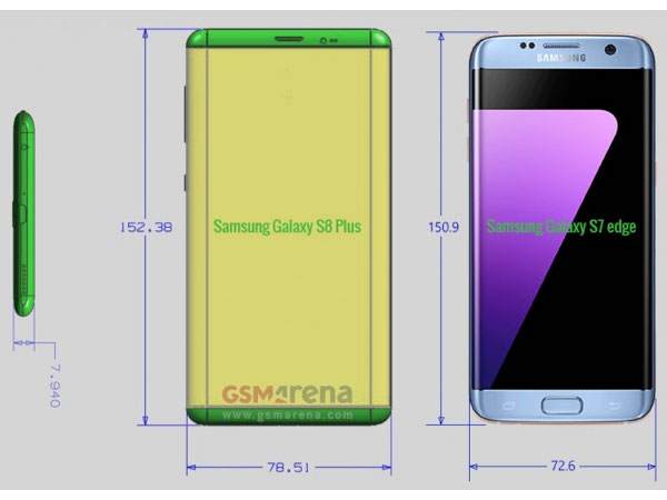Samsung Galaxy S8 and S8 Plus leaked dimensions reveal a mammoth display in compact footprint
