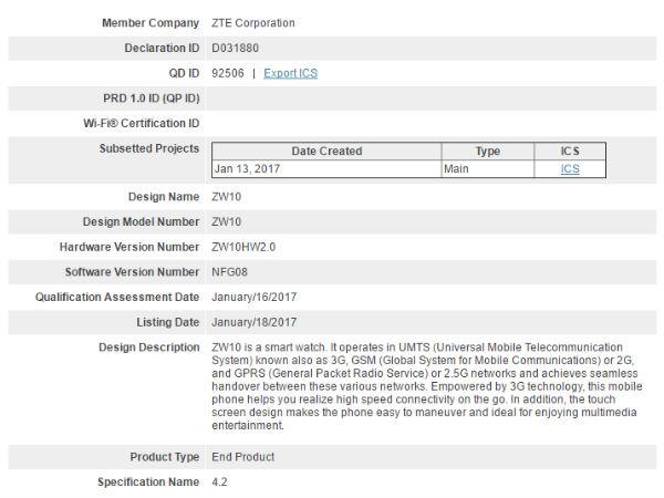 ZTE Android Wear Smartwatch (ZW10) receives Bluetooth certification
