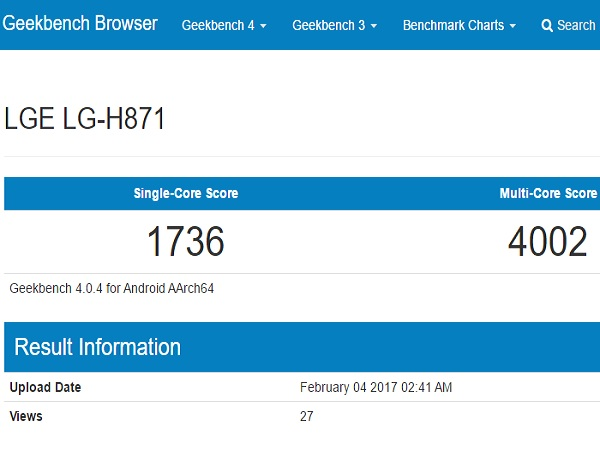 LG H871 with Snapdragon 820 appears on Geekbench