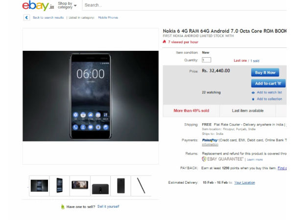 Nokia 6 4G RAM 64GB available in eBay