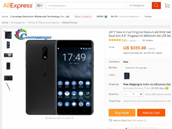 Original Nokia 6 Android 7.0 Octa Core now Available in Aliexpress