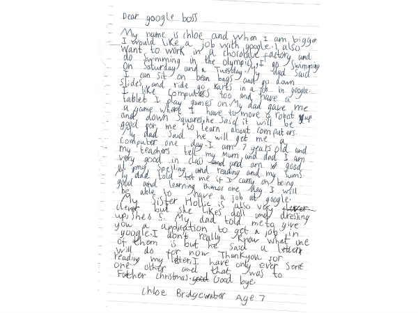 A 7-year old girl writes to Sundar Pichai seeking a job at Google
