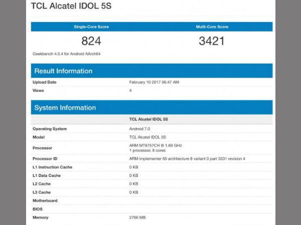 Alcatel Idol 5S with Helio P20 SoC and 3GB of RAM spotted on Geekbench