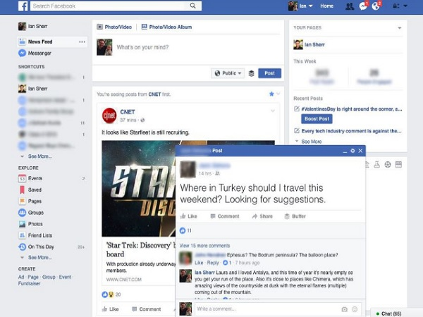 Facebook is testing chat windows styled pop-up posts for notifications