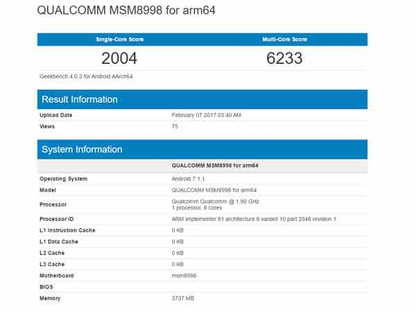 Qualcomm Snapdragon 835 SoC benchmark scores leaked