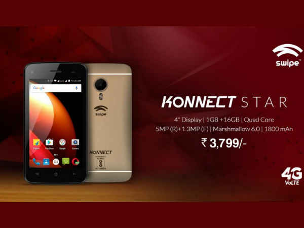 Swipe Konnect Star 4G VoLTE smartphone launched at Rs. 3,799