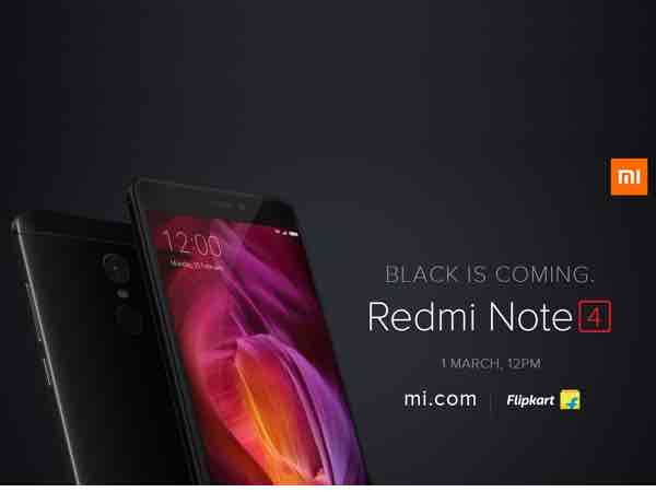 Xiaomi Redmi Note 4 Matte Black variant to go on sale on March 1