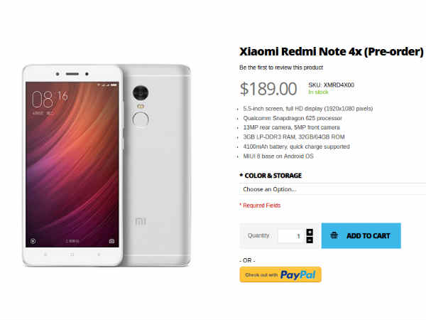 Xiaomi Redmi Note 4X available for pre-order at  Rs. 12,633