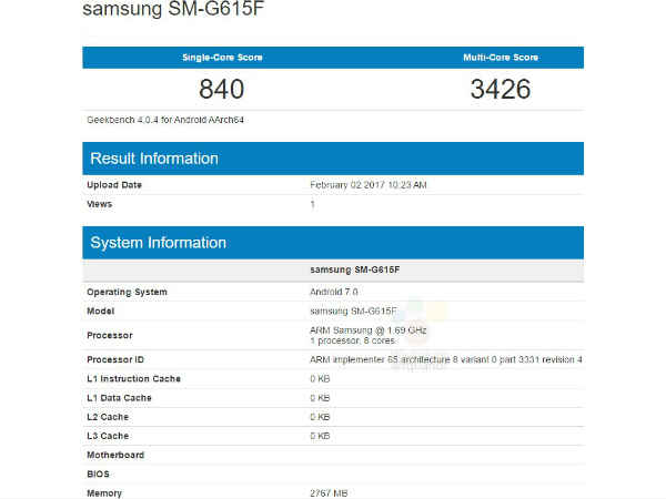 Samsung Galaxy On7 Pro (2017) spotted on Geekbench; Key specs leaked