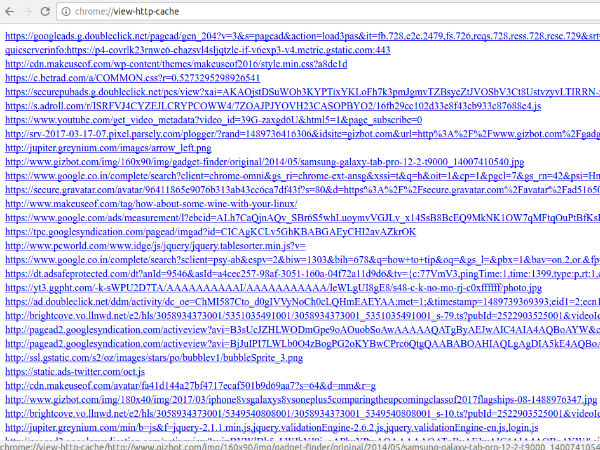 6. chrome://view-http-cache/